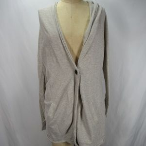 Caslon Cotton One Button Hooded Sweater Top Small